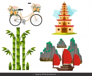 vietnam design elements colorful flat national symbols sketch