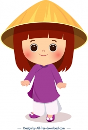 vietnam traditional clothes template cute cartoon girl icon