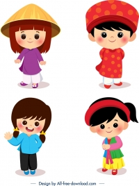 vietnamese traditional costumes templates cute kids icons