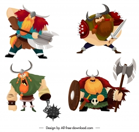 viking knight icons colored cartoon characters sketch