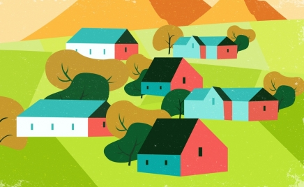village painting 3d multicolored retro design