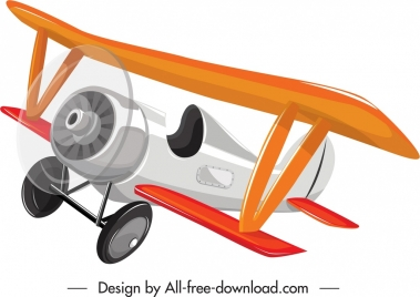 vintage airplane icon colorful 3d flying sketch