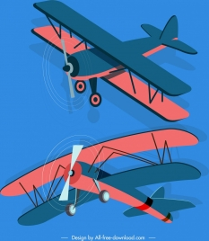 vintage airplane icons dark colored 3d sketch