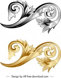 vintage baroque template elegant floral curved sketch