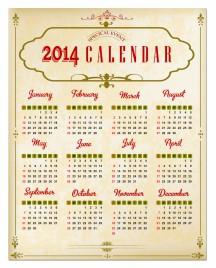 Vintage Calendar 2014 vector