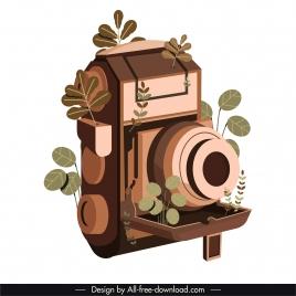 vintage camera icon brown 3d sketch leaves decor