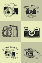 vintage camera icons collection black white sketch