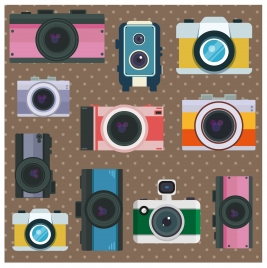 vintage cameras collection illustration with various types