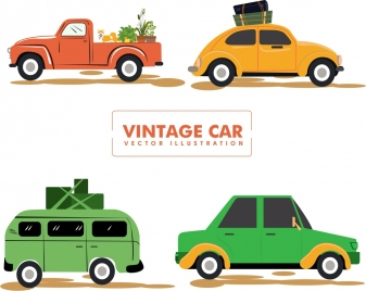 vintage car icons collection various colored types isolation