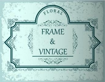 vintage frame template green lines decoration
