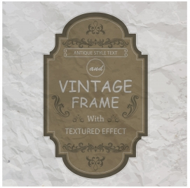 vintage frame with textured effect on rumple paper