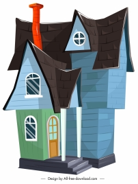 vintage house template colorful 3d sketch
