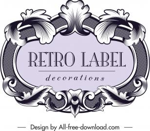 vintage label template elegant symmetrical baroque decor