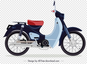 vintage motorbike icon colorful sketch