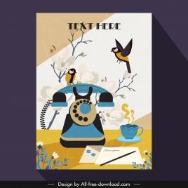 vintage postcard template telephone birds blurred flora decor