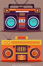 vintage radio icons colorful flat design