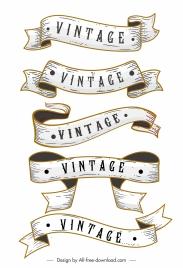 vintage ribbon templates 3d dynamic sketch