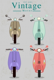vintage scooter templates collection colored design