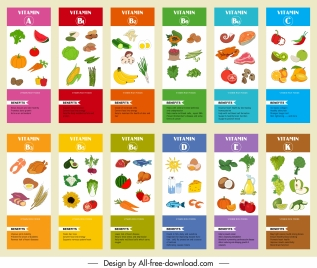 vitamin infographic banner templates colorful food emblems sketch