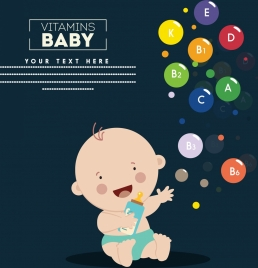 vitamin promotion poster baby colorful circles icons decor