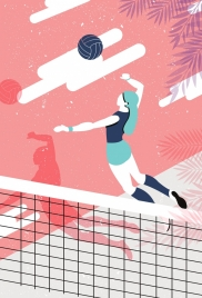 volleyball background female player icon colored cartoon sketch