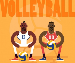 volleyball background male players icons cartoon character