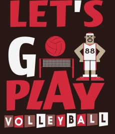 volleyball banner male player icon texts decoration