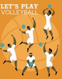 volleyball banner male player icons ball backdrop