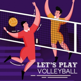 volleyball banner players match icon colored cartoon design