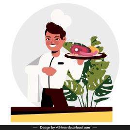 waiter icon elegant man food sketch cartoon character