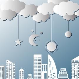 wall decor design city stars moons cloud icons