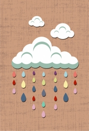 wall decor design clouds rain drops icons
