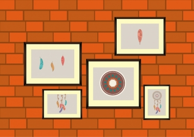 wall decor design painting icons brick style