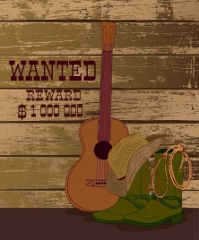 wanted banner cowboy design elements grunge retro design