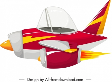 war plane icon flying motion sketch colorful decor