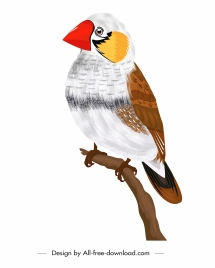 warbler icon colorful classical design perching gesture sketch