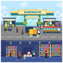 warehouse concepts illustration with elements in flat design