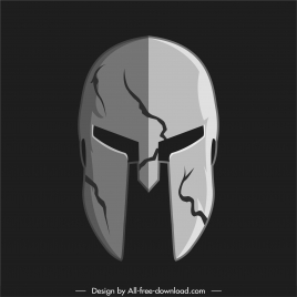 warrior armor helmet icon dark 3d sketch