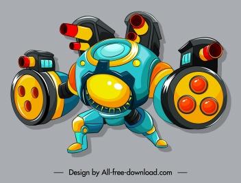 warrior robot icon modern cannon gun design
