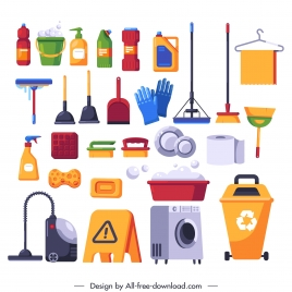 washing tools icons colorful flat sketch