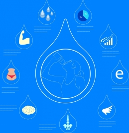 water benefit infographic various blue flat icons decoration