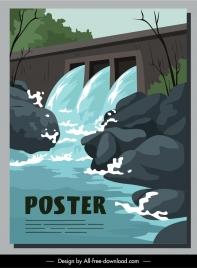 water dam architecture poster motion cartoon sketch