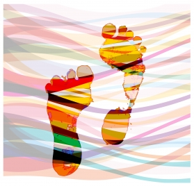 watercolored drawing of feet vector illustration