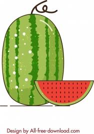 watermelon background colored flat slices decor retro design