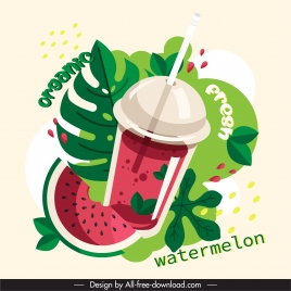 watermelon juice advertising banner colorful flat classic sketch