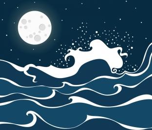 waving beach drawing bright moonlight decoration