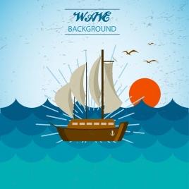 wavy beach background ship sun birds icons