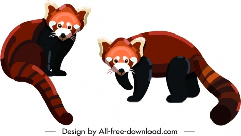 weasel wild animal icons colored cartoon sketch