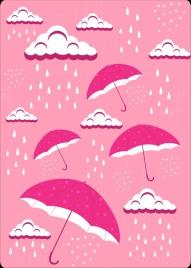 weather backdrop rain cloud umbrella icons pink decor