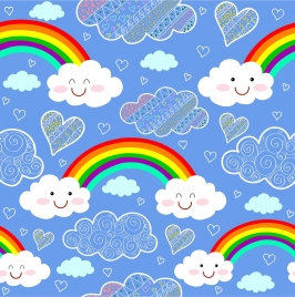 weather background colorful rainbow stylized cloud repeating style